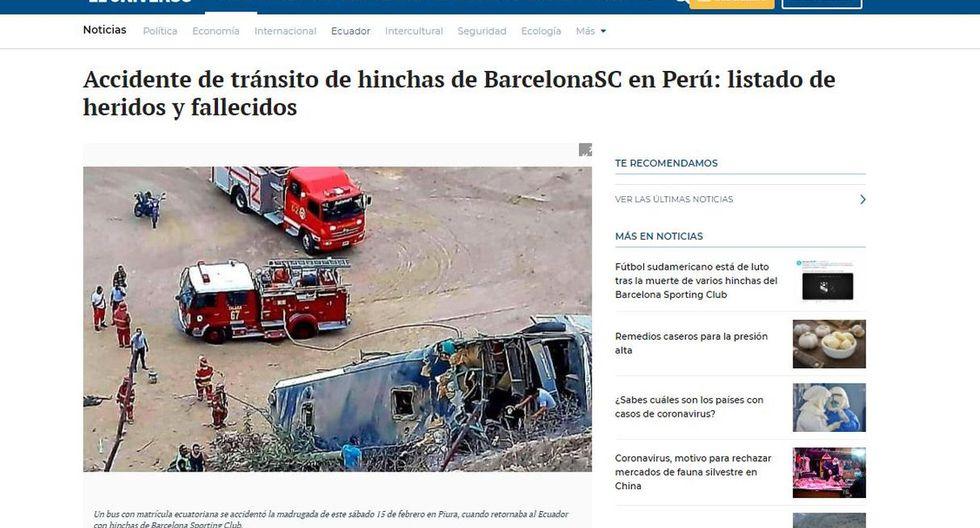 """""""Accidente de tránsito de hinchas de BarcelonaSC en Perú: listado de heridos y fallecidos"""", tituló el diario El Universo de Ecuador. (El Universo)."""