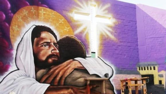 La obra artística representa a Jesucristo abrazando a un hombre privado de su libertad. (Foto: Inpe)