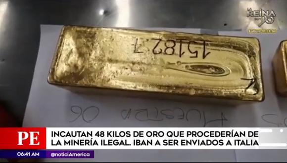 Las autoridades detectaron que la procedencia de las barras de oro no era legal. (Foto captura: América Noticias)