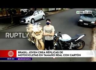 Joven brasileño fabrica réplicas de motos en tamaño real con cartón