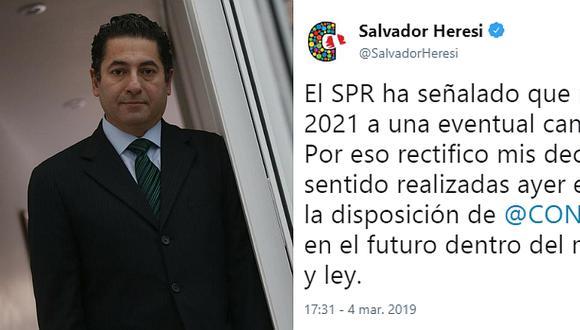 Salvador Heresi se rectifica ante posibilidad de que Martín Vizcarra postule a la presidencia en 2021