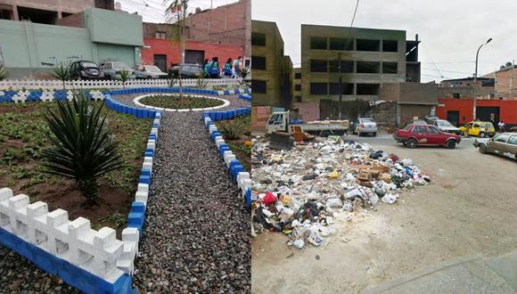 Este es el antes y después de la intervención en la zona ubicada en el cruce de los jirones Rivera y Dávalos y Conchucos. (Foto: Municipalidad de Lima)