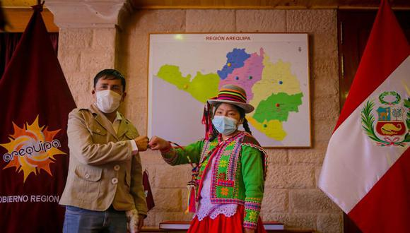 Blanca fue recibida por el gobernador Elmer Cáceres. (Foto: Difusión)
