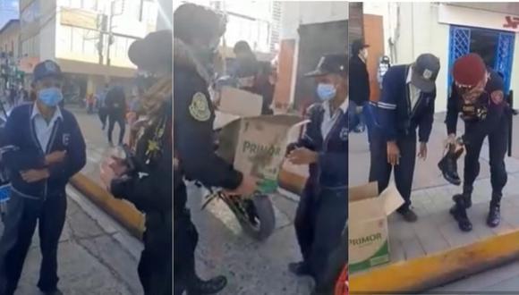 Efectivos policiales brindaron ayuda a adulto mayor quien llevaba una mascarillas desgastada. (Video: Correo)