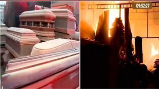 Incendio consume fábrica de ataúdes en San Juan de Lurigancho