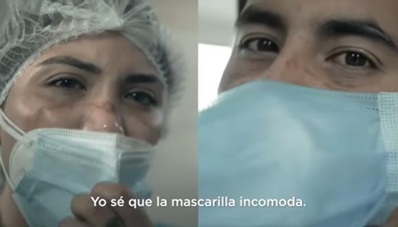 Emotivo video sobre la importancia del uso adecuado de la mascarilla protagonizó personal de salud.