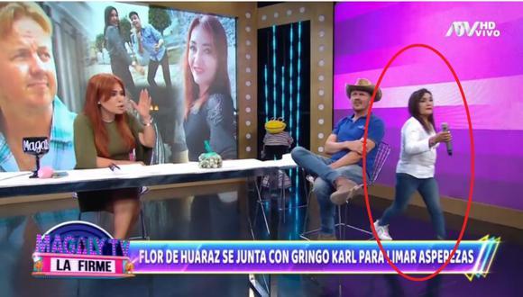 Momento en que la Flor de Huaraz se retira en vivo del set de 'Magaly TV: La Firme'. | Foto: ATV.