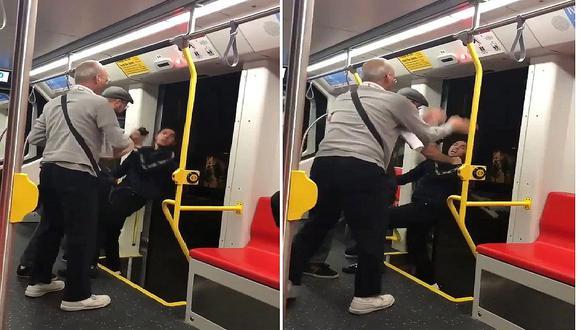 Dos hombres intentan arrojar del tren a un joven porque escuchaba música a alto volumen (VIDEOS)