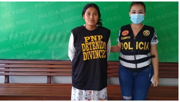 Mérida Celina Granados Ramos, quien es acusada de parricidio, fue puesta a disposición de la Depincri Chiclayo. (Foto: PNP)