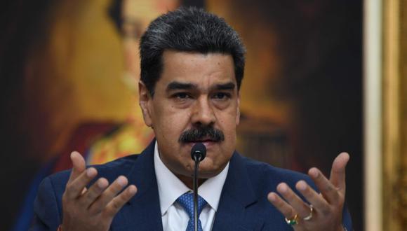 En esta foto de archivo tomada el 14 de febrero de 2020, el presidente de Venezuela, Nicolás Maduro, habla durante una conferencia de prensa con miembros de los medios extranjeros en el Palacio de Miraflores en Caracas. (AFP/YURI CORTEZ).