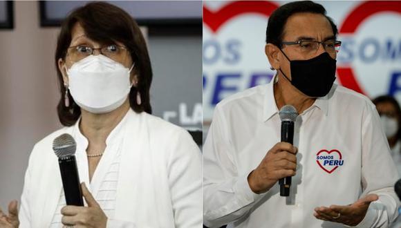 Ministra de Salud, Pilar Mazzetti, y el expresidente Martín Vizcarra. | Foto: GEC