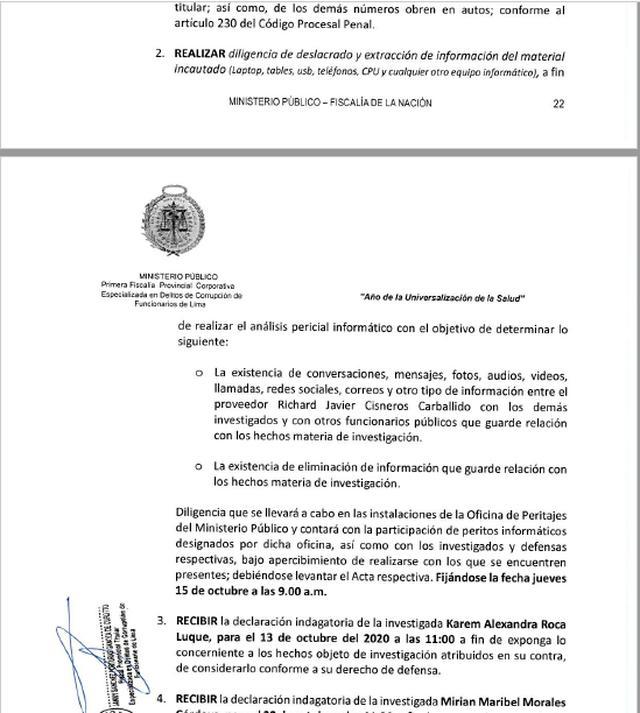 La Fiscalía dispuso realizar pericias informáticas para determinar los nexos entre el compositor Richard Cisneros con los investigados Karem Roca, Mirian Morales, Diana Tamashiro y otros funcionarios públicos.
