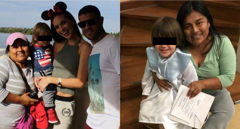 La familia de Natalie Vértiz y en la otra imagen está Rosmery con hijo de la modelo. | Foto: Instagram.