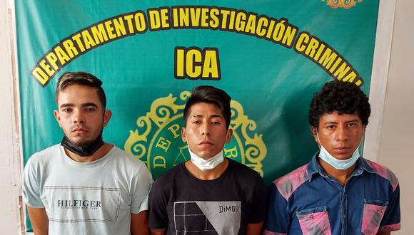 Capturan a tres por el delito de robo en una mototaxi en Ica.