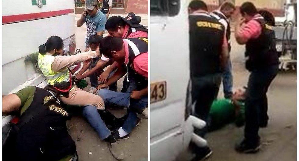 Chofer se atrinchera debajo de ómnibus para evitar que lleven vehículo al depósito (VIDEO)