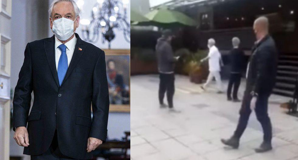 Medios chilenos informaron de la visita del presidente Sebastián Piñera a una vinoteca en plena cuarentena por coronavirus. (Foto: AFP/ SEBASTIAN RODRIGUEZ - Captura/YouTube).