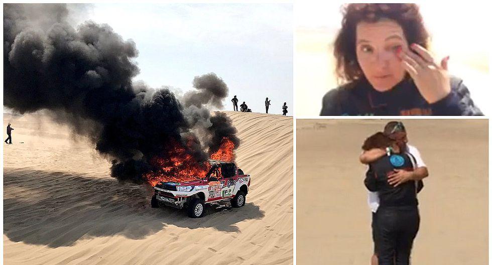 Dakar 2018: Camioneta de argentina Alicia Reina se incendió en plena competencia (VIDEO)