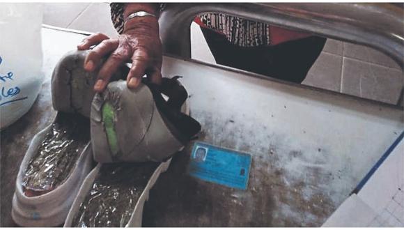 Estupefaciente estaba camuflado entre la suela de un par de zapatillas. Según dijo la  mujer de 68 años, iba a visitar a su nieto.