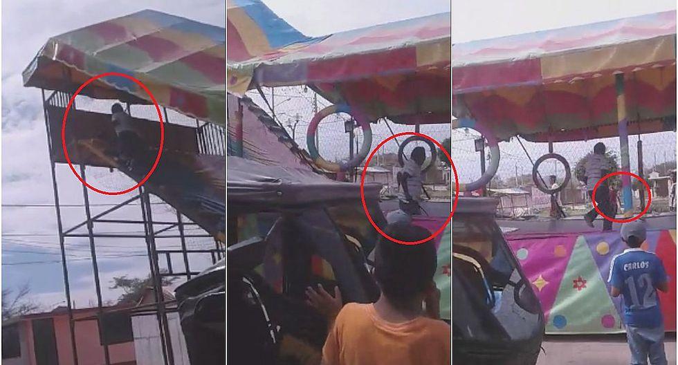 Denuncian que hombre agredió a niño por subirse a juego (VIDEO)