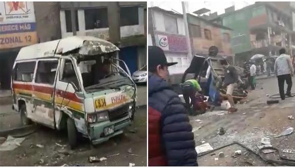 Combi choca con 5 mototaxis y deja al menos 6 heridos de gravedad en Comas (VÍDEO)