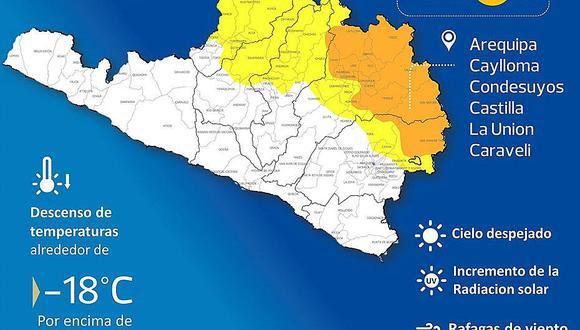 Vientos fuertes en Arequipa y descenso de temperatura hasta 18 grados bajo cero