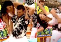 Christian Domínguez y Pamela Franco se caen frente a las cámaras de TV