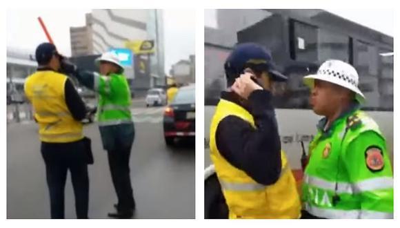 Policía de tránsito escupió a inspector en la avenida Javier Prado (VIDEO)