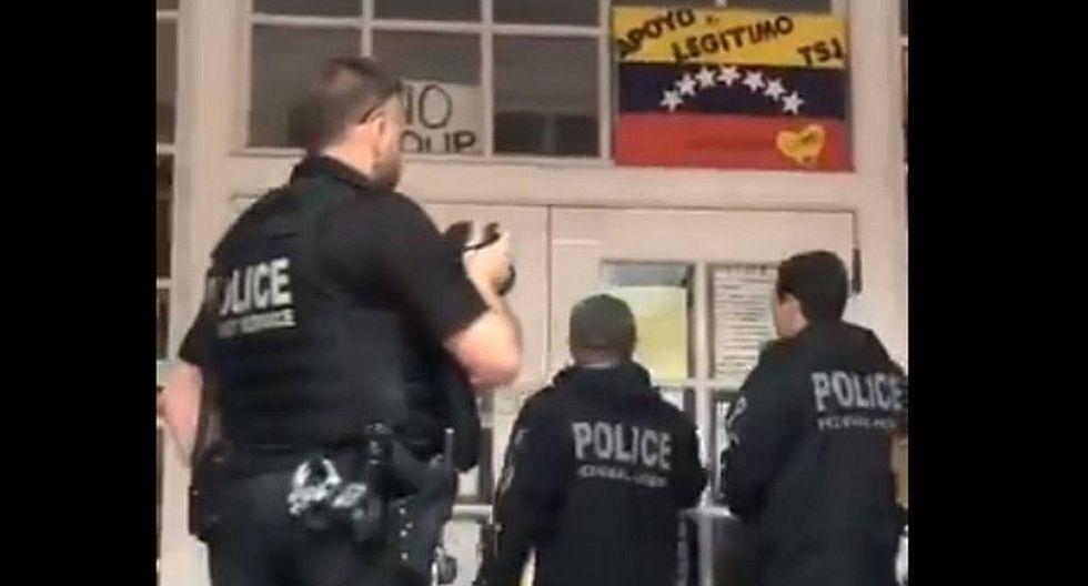 Intentan desalojar a funcionarios chavistas de la Embajada de Venezuela en Washington (VIDEO)