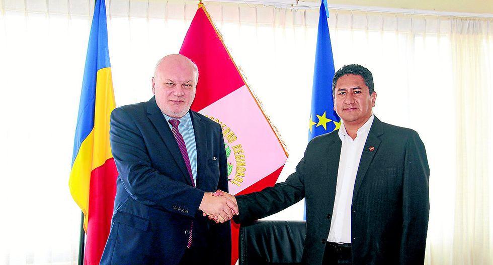 Gobernador se reúne con embajador de Rumania y evaluan un tranvía para Huancayo