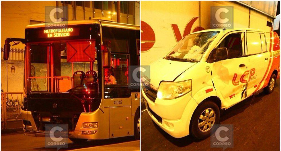 Cuatro heridos tras choque de bus del Metropolitano contra camioneta (FOTOS Y VIDEOS)