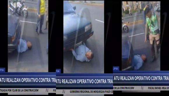 Hombre quiso evitar que se llevaran su auto al depósito en operativo contra taxi colectivos (VIDEO)