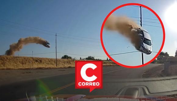 Un video viral grabado por la cámara de tablero de una camioneta captó el preciso instante en que un auto salió despedido por los aires e impactó contra el pavimento.   Crédito: CBS Sacramento / YouTube