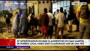 San Martín de Porres: intervienen a 27 personas en bar clandestino