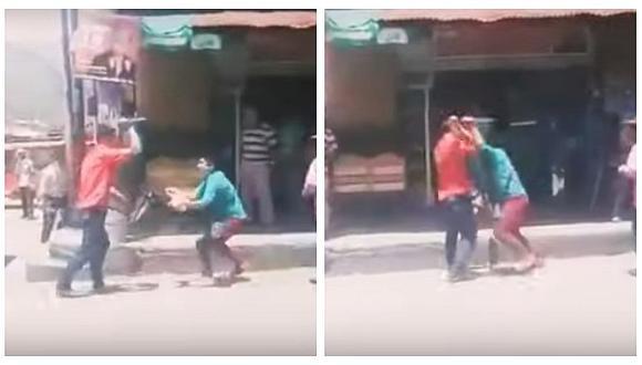 Esposo y amante de una mujer se atacan a cuchillazos en plena calle