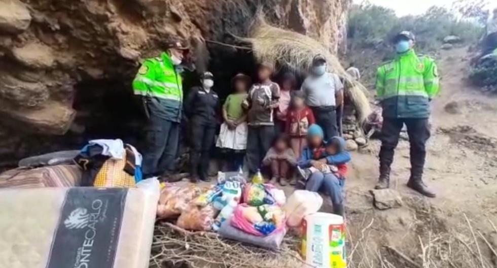 Huancavelica: Esposos y sus cinco hijos viven de manera ermitaña y policía les llevó ayuda.