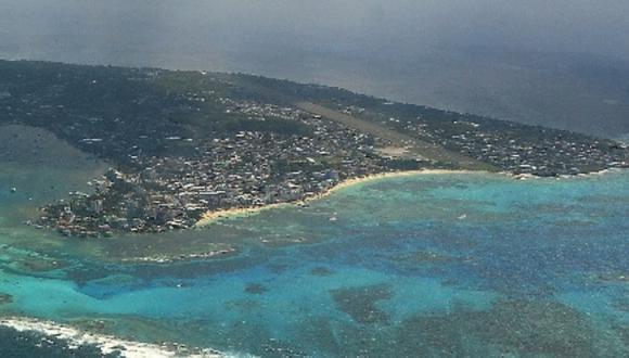 Vista aérea de la isla San Andrés, del caribe de Colombia. | Foto: AFP.