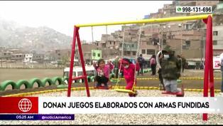 Donan juegos recreativos en parque elaborados con armas de fuego fundidas en San Juan de Lurigancho