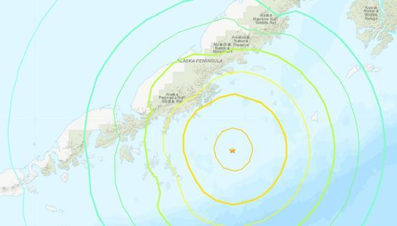 Mapa del Servicio Geológico de Estados Unidos que muestra el lugar exacto del último sismo de 8,2 grados en Alaska. (USGS)