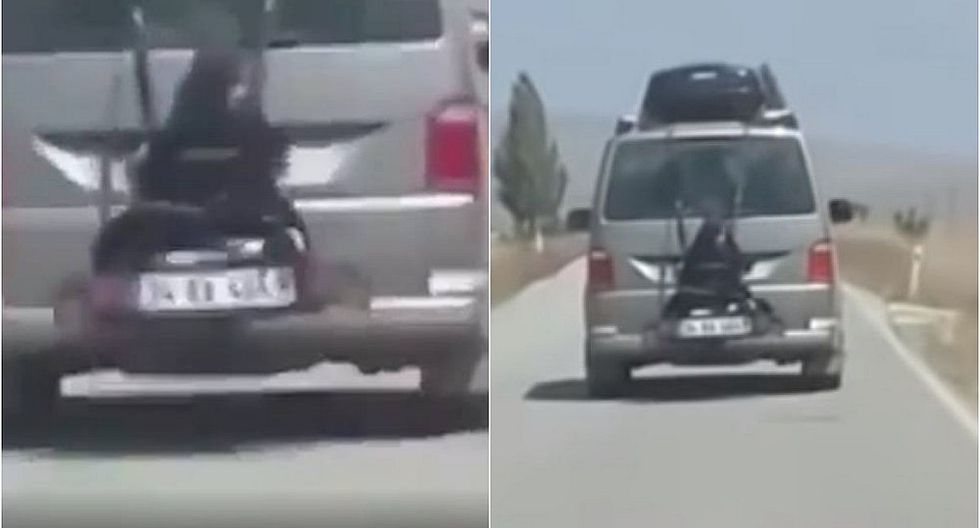 Detienen a hombre que llevaba a su hija atada al portabicicletas de su auto (VIDEO)