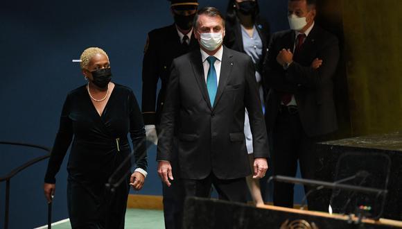Jair Bolsonaro llega a la sede de las Naciones Unidas, el 21 de septiembre de 2021. (Foto:  TIMOTHY A. CLARY / POOL / AFP)