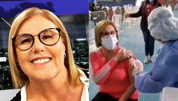 Mónica Delta recibió la primera dosis de la vacuna contra la COVID-19. (Foto: Captura de Twitter)