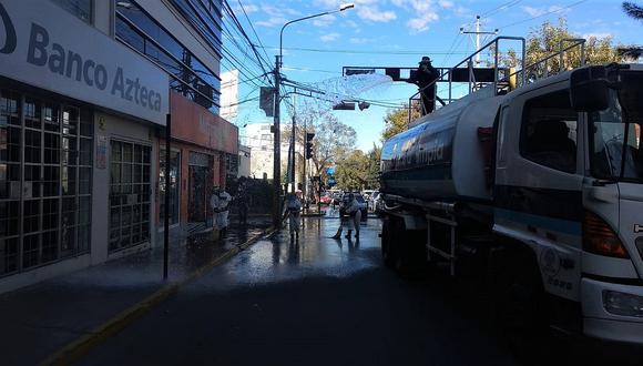 Municipios de Arequipa suman esfuerzos para desinfectar zonas de límite