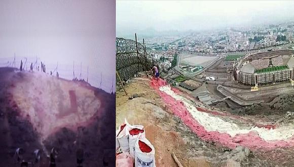 River Plate vs. Flamengo: Hinchas de Universitario tratan de repintar escudo dañado en cerro del Monumental