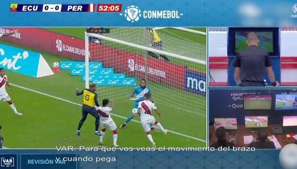 Conmebol reveló el audio del VAR en la polémica mano de Luis Abram. (Captura: Conmebol)