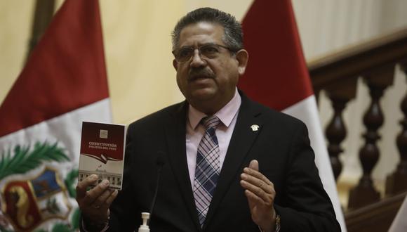 Al levantar la sesión del Pleno del Congreso, Manuel Merino hizo referencia a las Fuerzas Armadas:(Foto: Cesar Campos / @photo.gec)