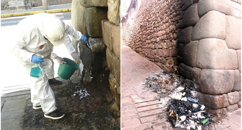 Cusco: limpian muro inca afectado por quema de basura y piden capturar a los responsables