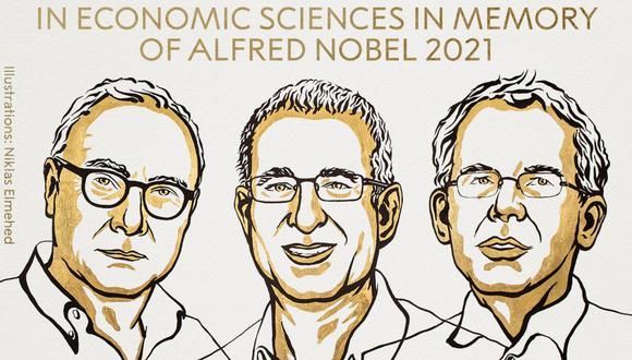 David Card, Joshua D. Angrist y Guido W. Imbens recibieron este lunes el Nobel de Economía. (Foto: Twitter @NobelPrize / Niklas Elmehed)