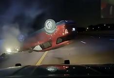 EE.UU.: patrulla persigue auto de mujer embarazada y termina volcando (VIDEO)