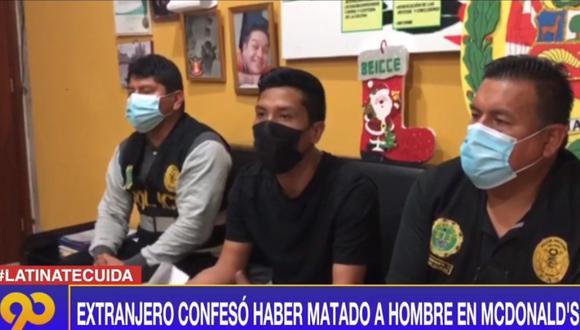 El venezolano William Martínez Robles confesó ante la Policía el crimen de Isaac Hilario Huamanyalli. (Foto: Captura Latina)