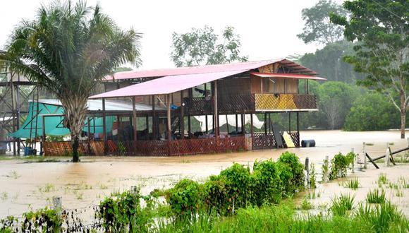 El caudal del río se encuentra en descenso, sin embargo, los reportes meteorológicos del Servicio Nacional de Meteorología e Hidrología del Perú (Senamhi), indican que las lluvias continuarán (Foto: Goremad)